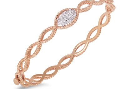 bracelet-roberto coin-or rose-diamant-new barocco