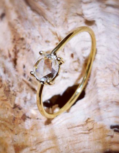 fine bague-or jaune-diamant taille rose